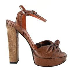 LANVIN Shoe Gold Bronze Laser Cut Textile Platform Open Toe 39 / 9