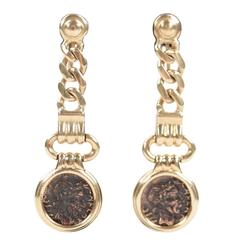 VINTAGE Italian 18K Yellow Gold Antique ANCIENT COIN Dangle EARRINGS Non-Pierced
