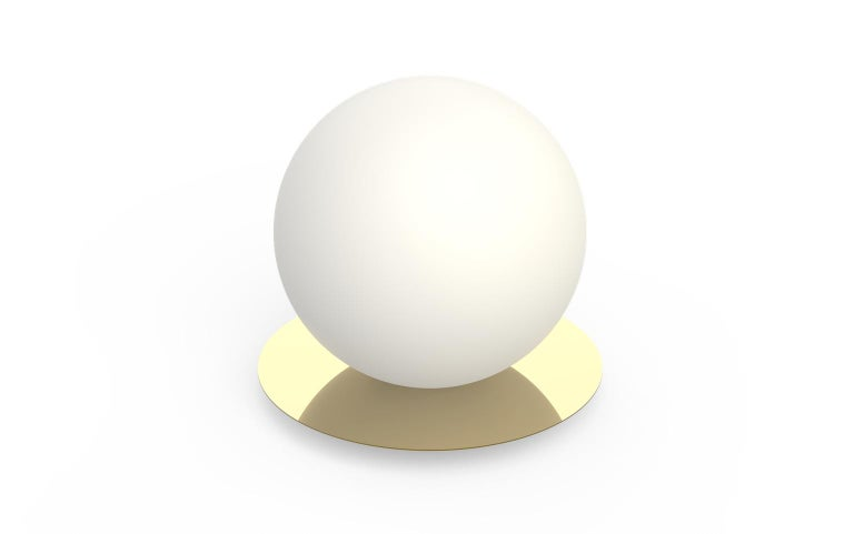 For Sale: Gold (Brass) Bola Medium Table Sphere Lamp by Pablo Designs