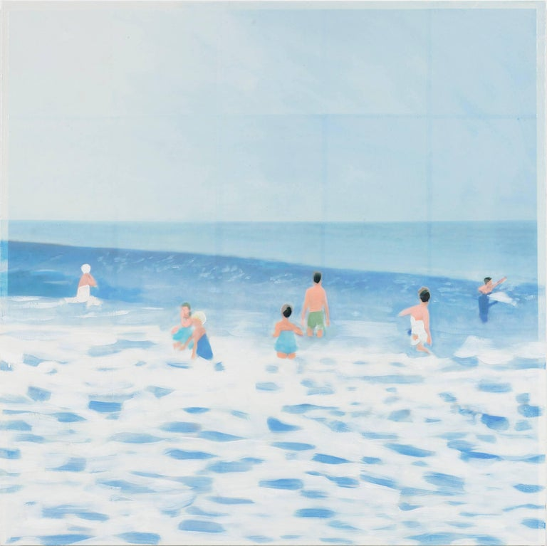 Isca Greenfield-Sanders painting made in 2016 that depicts people bathing in the ocean