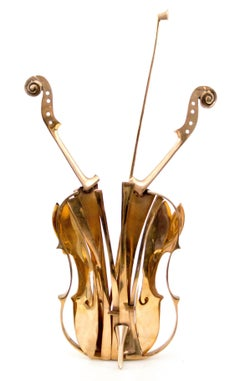 "Arman - Arman's -  ""Venice"" - Gilded Bronze Violin Sculpture"