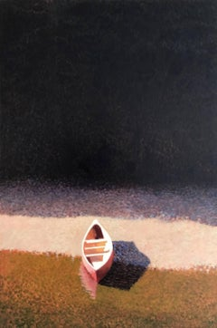 Red Canoe on Rocky Beach / oil on canvas
