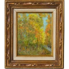 Mid Century Autumn Trees Landscape
