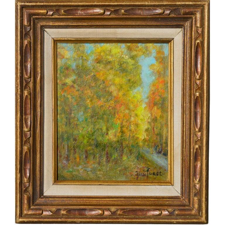 Helen Enoch Gleiforst Abstract Painting - Mid Century Autumn Trees Landscape