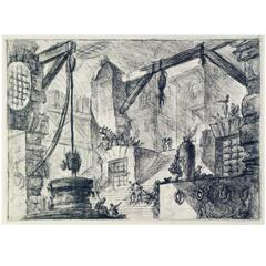 1st Edition Etching from Piranesi's Imaginary Prisons Series - the Carceri