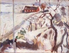 'Winter Landscape, Red Farmhouse', Post-Impressionist oil, Paris Salon, Benezit