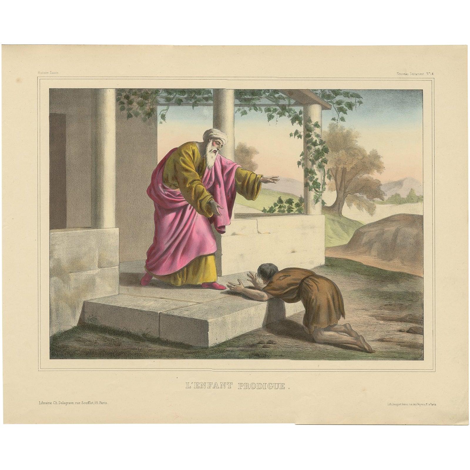 Antique Religious Print 'No. 14' The Prodigal Son, circa 1840