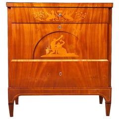 Danish Empire Small Chest of Drawers in Mahogany with Satin Wood Inlays, c. 1810