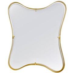 Contemporary Italian Minimalist Brass Mirror with Organic Undulating Frame