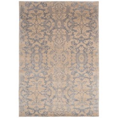 Tibetan Weave Wool and Silk Area Rug Silvery Grey by Carini