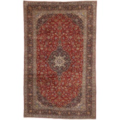 Vintage Persian Kashan Gallery Rug with Traditional Jacobean Style