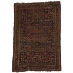 Distressed Antique Persian Bijar Accent Rug with Herati Design and Tribal Style