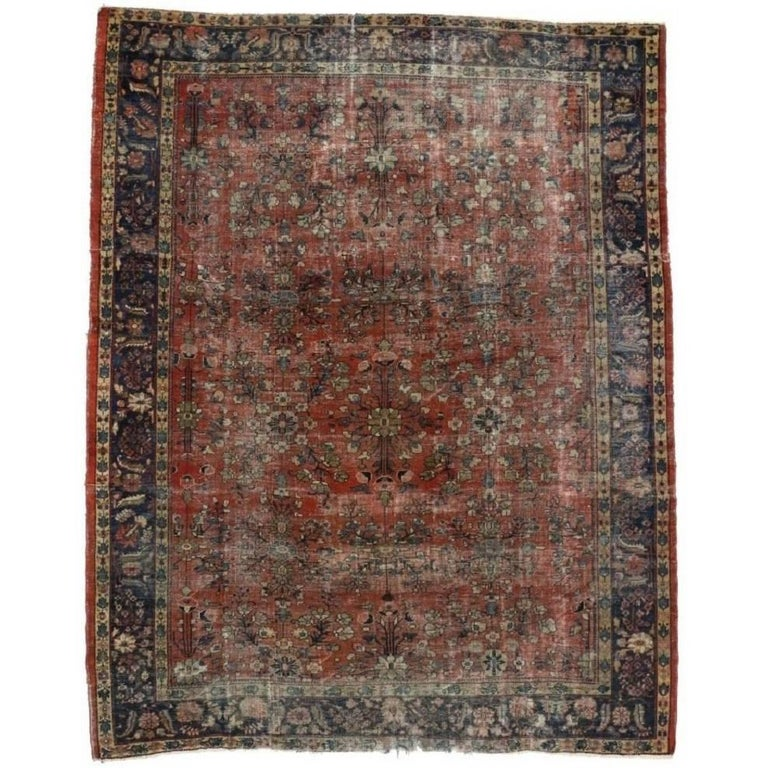 Distressed Antique Persian Mahal Rug with Modern Industrial Style