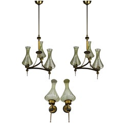 Italian Art Novena Chandelier and Appliques Set in Murano Glass, 1930s