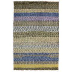 Moroccan Style Area Rug With Abstract Plank Design, Earth-Tone and Pastel Colors