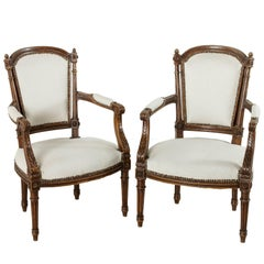 Pair of 19th Century Louis XVI Style Hand Carved Walnut Armchairs from Provence