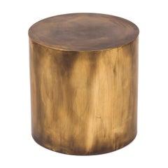 Regular Antique Brass Pebble Drum Side Table
