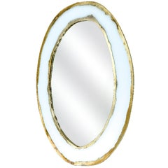 """Hello"" Mirror, Art Glass Silvered, Opale White and Mirror, Birch Wood Handmade"