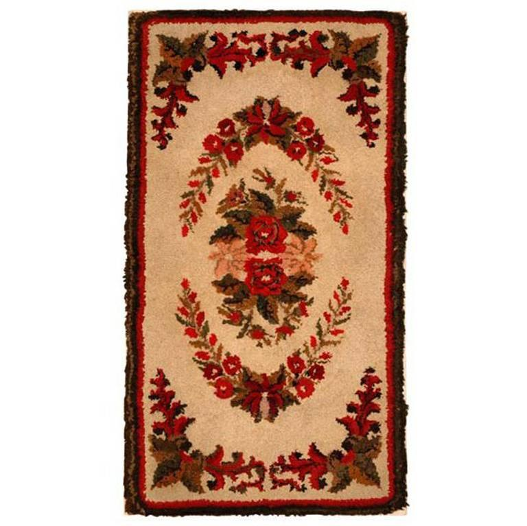 Early 20th Century Mounted Floral New England Hooked Rug