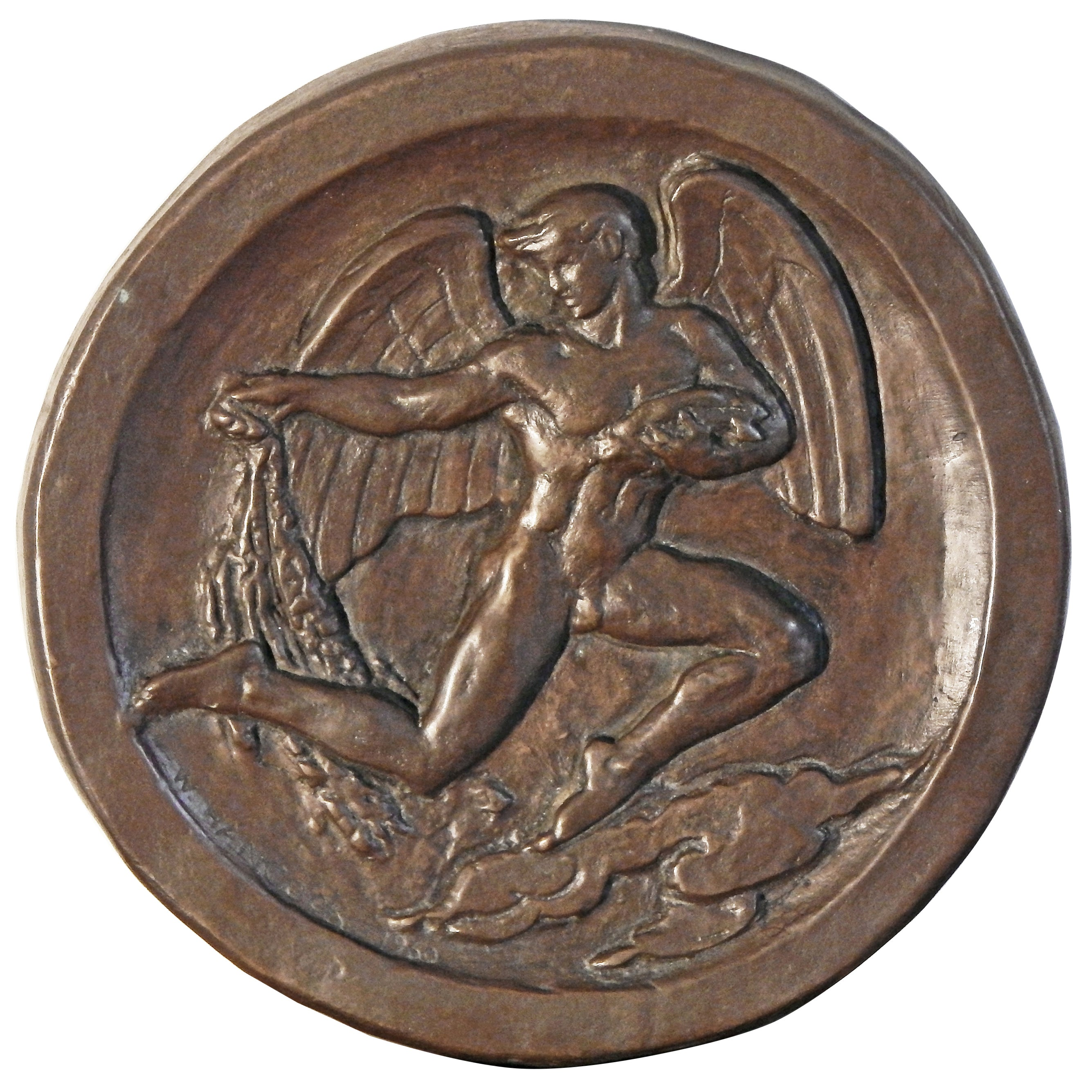 """""""Blessing the Fishing Industry,"""" Art Deco Bas Relief Bronze Sculpture with Nude"""