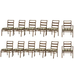 Twelve Robsjohn-Gibbings for Widdicomb Dining Chairs, 10 Armless and 2 Armchairs