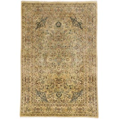 Vintage Indian Persian Design Accent Rug with Traditional Modern Style