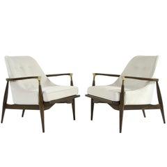 Modern Brass-Accented Walnut Lounge Chairs