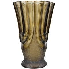Italian Art Deco Smoked Glass Vase, 1930s