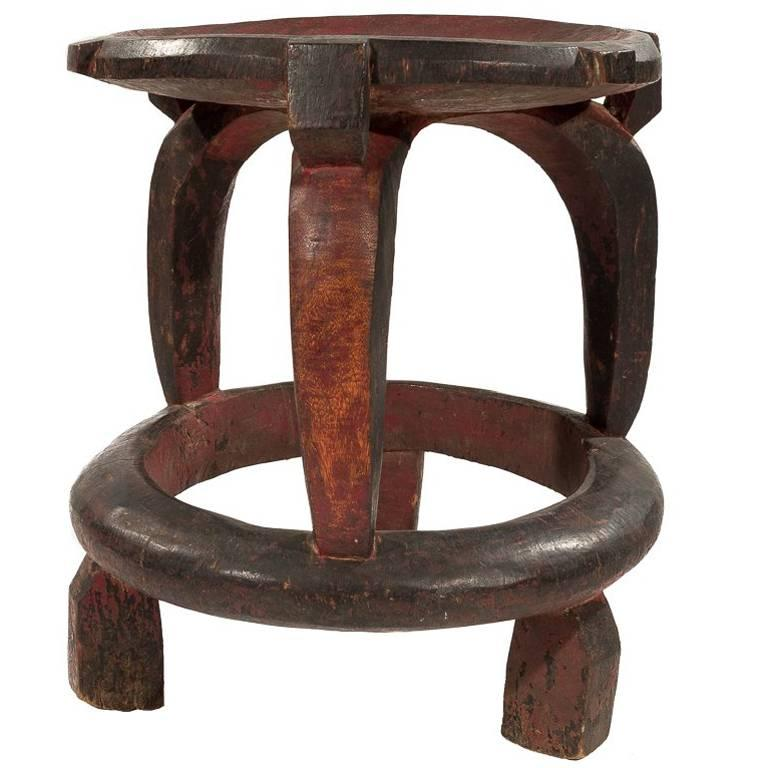 Large Vintage African Carved Stool from Tanzania