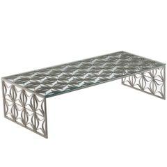 São Cristóvão Brazilian Contemporary Pattern Metal and Glass Centre Table