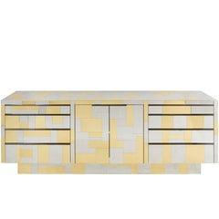 Paul Evans Cityscape Brass and Chrome Credenza