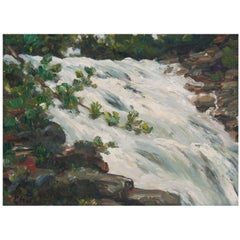 """""""Study on Falling Water"""" Painting by Richard Chalfant"""