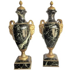 Pair of Verdi Antico 'Green' Marble Urns or Cassolette Garnitures