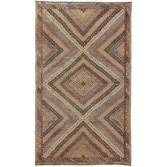 Distressed Turkish Kilim Rug, Flat-Weave Rug