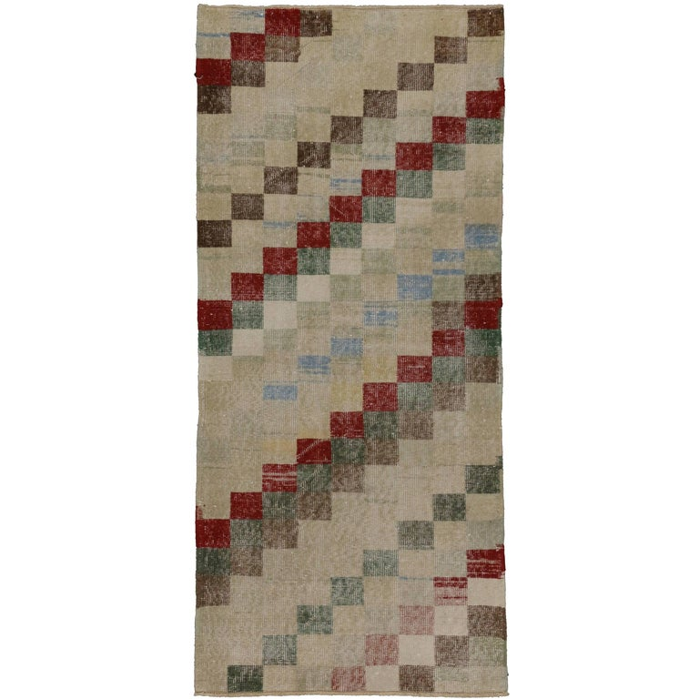 Zeki Muren Distressed Turkish Sivas Rug with Art Deco Cubism Style For Sale