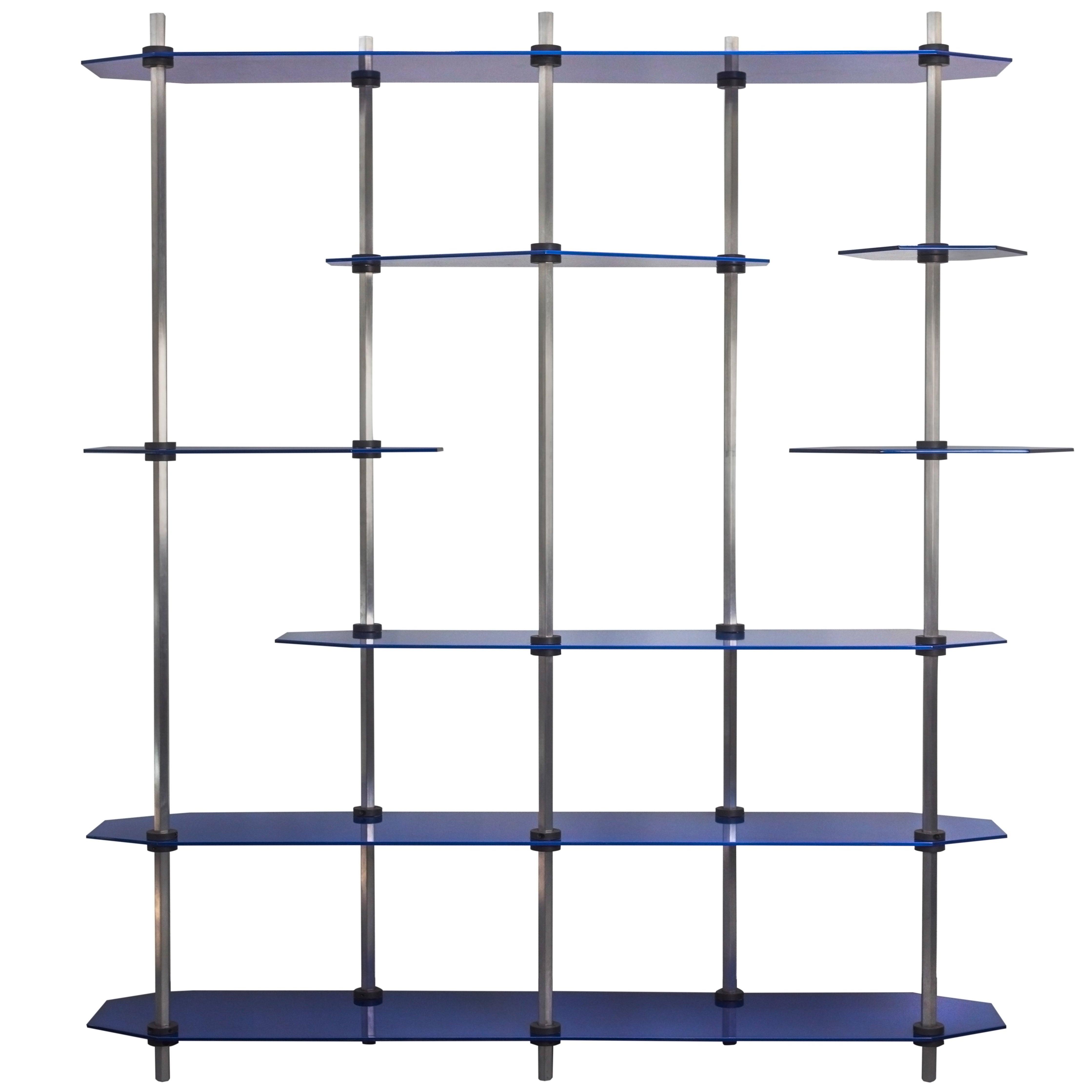 Tall Hex Shelving in Metallic Blue Glaze. Modular Aluminium Bookshelf.