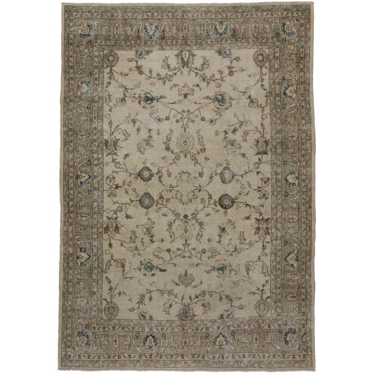 Distressed Vintage Turkish Sivas Rug with Shabby Chic Gustavian Style For Sale