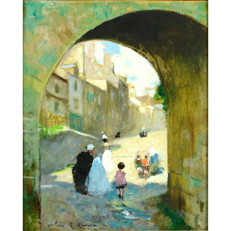 This beautiful glimpse through a Village Archway illustrates Hervé's graphic and colorful vision. Jules-René Hervé (1887-1981) was a painter famous for his scenes of the Parisian life. He also painted many views of his hometown of Brévoines France.