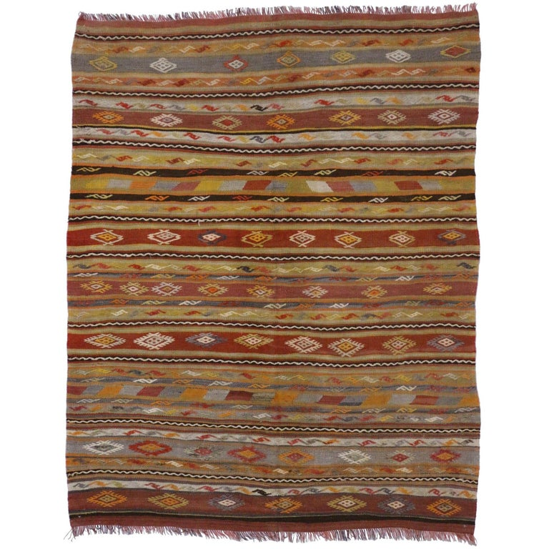Vintage Turkish Kilim Rug Flat Weave Tribal