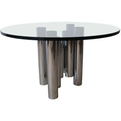 Mid Century Modern Tubular Chrome Column Base Coffee Table, Round Glass Top
