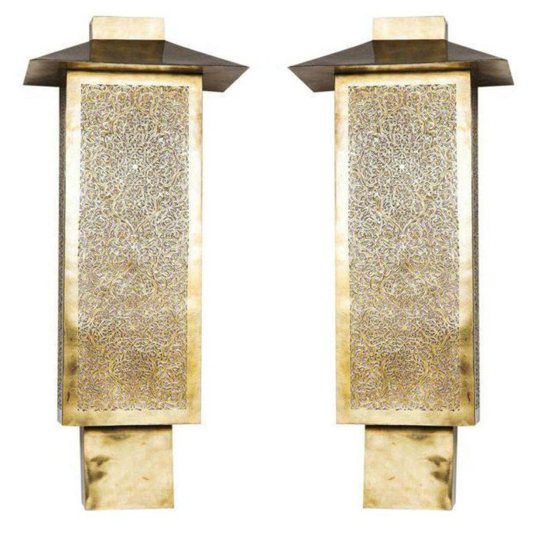 Pair of Brass Tall Wall Sconces