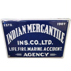 1950s Blue and White Indian Mercantile Sign
