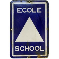1970s French Blue and White Metal School Sign