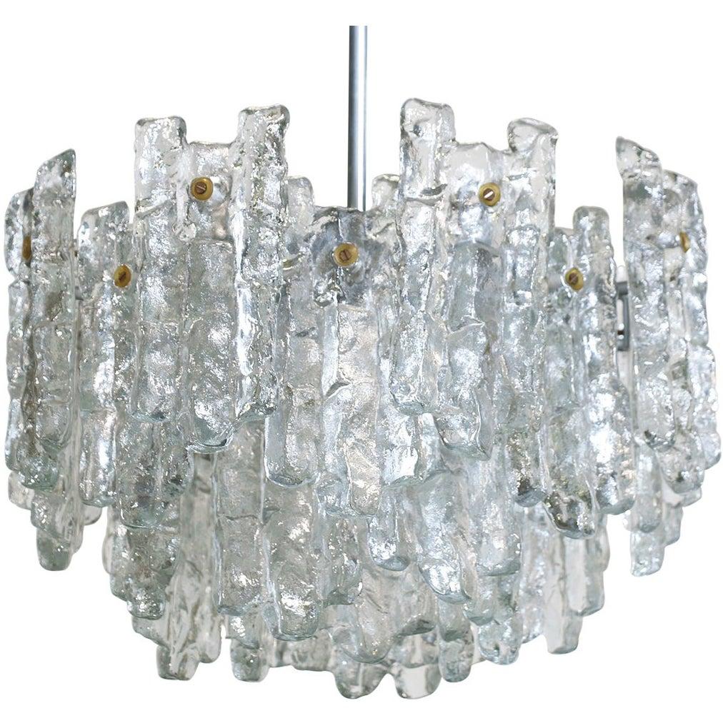 """Austrian """"Soria"""" Ice Glass Chandelier by J.T Kalmar"""