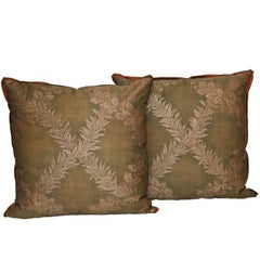 Pair of Fortuny Fabric Cushions in the Crosini Pattern