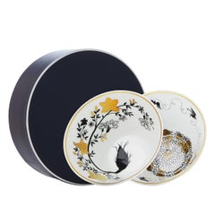 Modern Set of Two Porcelain Cups in Black, White and Gold by Safia Ouares