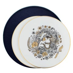 Modern Set of Two Porcelain Plates in Black, White and Gold by Safia Ouares