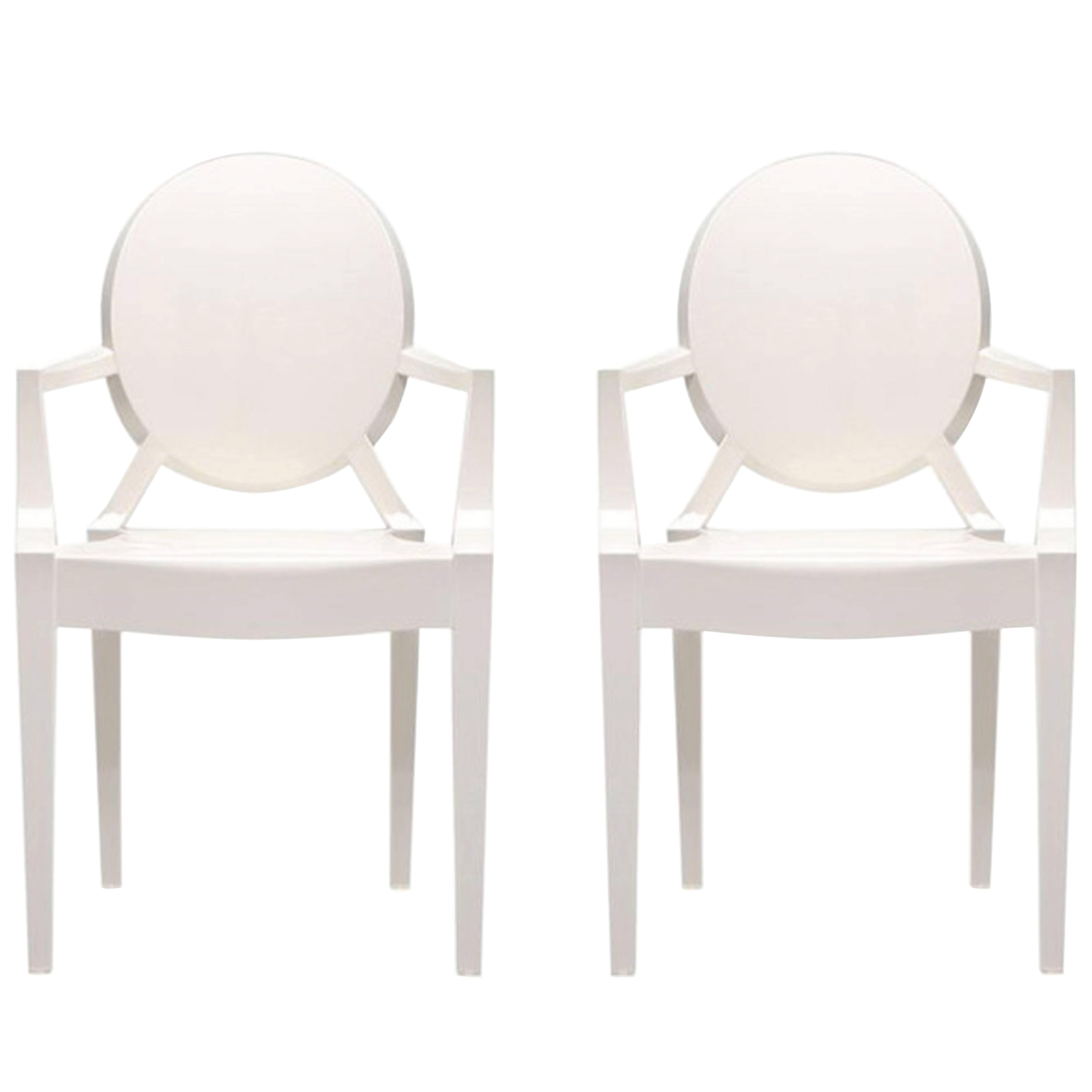 Glossy White Cartel Louis Ghost Chair By Philippe Stark For Sale