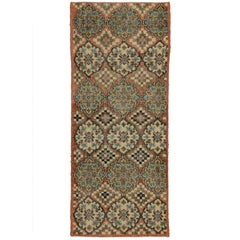 Distressed Vintage Turkish Sivas Accent Rug in Swedish Farmhouse Style