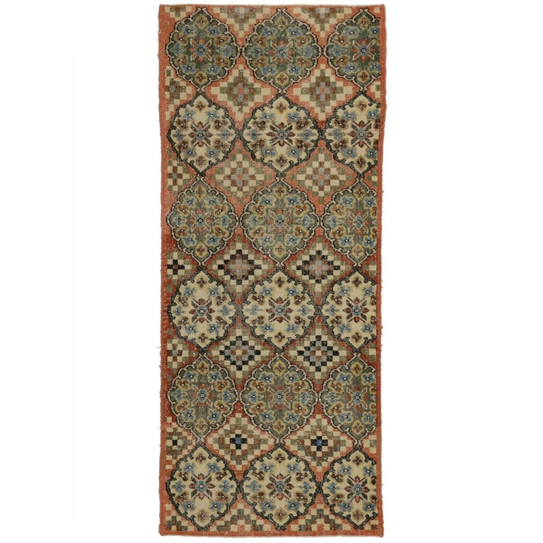 Distressed Vintage Turkish Sivas Accent Rug in Swedish Farmhouse Style For Sale